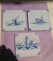 3db. holland csempe,bontott,Delft,kb.17-18.sz - nagyon szépek,eredetiek!! egyben a 3