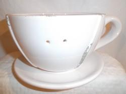 Kerámia - óriás csésze - kaspó - 20 x 17 x 10 cm - elől a két lyuk szalag befűzésére szolgál