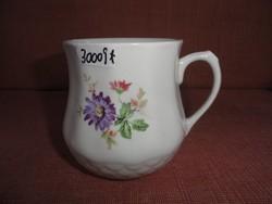 Drasche porcelán, öblös bögre, virágmintás.