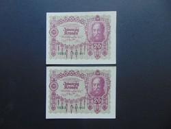 2 darab 20 korona 1922 Sorszámkövető Szép bankjegyek !!