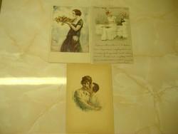 """Rózsás tál,szign. lap/""""Szedem szép..,""""/Szerelmespár Három képeslap egyben: 1200 Ft"""