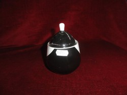 Hollóházi porcelán cukortartó, fekete-fehér színű.