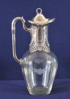 Antik karaffa, csiszolt üveg, ezüst tetővel