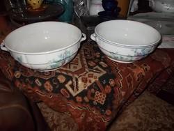 2-drb gyönyörű festett leveses tálak