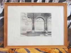 """Artner Margit - """"Noé galambjára várva"""" rézkarc (24/100) (64 x 46 cm)"""