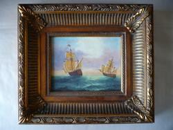 Ismeretlen festő hajókat ábrázoló gyönyörű képe