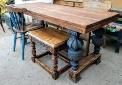 Antik tömör teakfa asztal faragott lábakkal