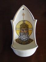 Antik Zsolnay szenteltvíztartó Szent István