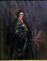 """Péczely Antal ( 1891 - 1960 ) """" Hölgy asztalnál """""""