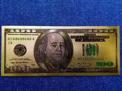 Gyönyörű arany színű plasztik dísz USA 100 dollár (id9689)