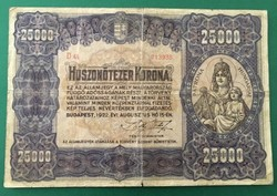 NAGYALAKÚ 25.000 KORONA 1922 ( VG ) ! RITKA