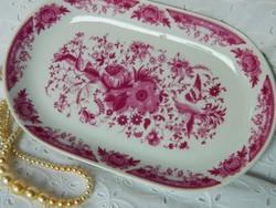 Kecses Kahla porcelán ovális tál, kínáló pink mintázattal
