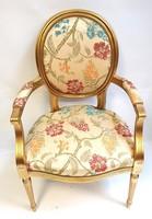 Aranyozott restaurált XVI. Louis stílusú karosszék