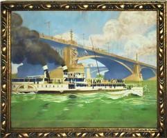 Ismeretlen művész: A Margit híd az Erzsébet királyné gőzhajóval