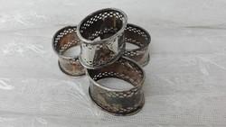 Ezüstözött szalvétagyűrű, 4 db