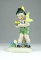 0T871 Fasold & Stauch porcelán fiú madarakkal