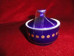 Hollóházi porcelán cukortartó, kék színű.