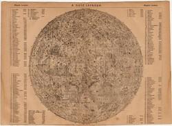 A Hold  térképe 1885, Magyar Lexikon, Rautmann Frigyes, csillagászat, térkép, egy színű nyomat