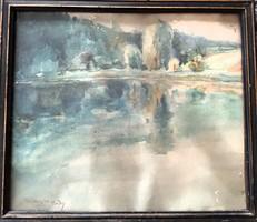 Sopron Tómalom 1938 antik  akvarell festmény