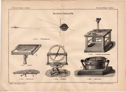 Javított iránytűk, egyszín nyomat 1885, Magyar Lexikon, Rautmann Frigyes, iránytű, csavarmérleg