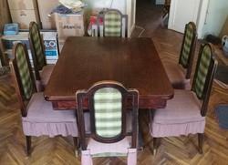 Antik étkezőgarnitúra, asztal + 6 szék