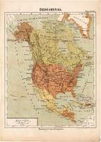 Észak - Amerika térkép 1885, Magyar Lexikon, Rautmann Frigyes, Közép - Amerika, Alaszka, Mexikó