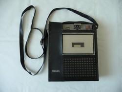 PHILIPS N2203 kazettás felvevő magnó + mikrofon + hordtáska / Philips N2203 casette recorder