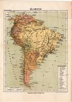 Dél - Amerika térkép 1885, Magyar Lexikon, Rautmann Frigyes, Tűzföld, Patagónia, Brazília, Guayana