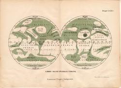 A Mars bolygó földrajzi térképe 1885, Magyar Lexikon, Rautmann Frigyes, térkép, Hall földje, tenger