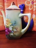 19107E Antik fajansz rózsamintás kávéskanna