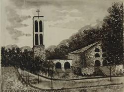 """0O402 Puskás Ede : """"Pécs Pálos templom"""" 1960"""