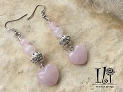 Rózsakvarc ásvány szív fülbevaló