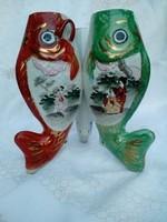 Japán, kézzel festett tripla halas antik váza