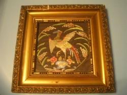 N6 Antik 110 éves művészi paradicsom vagy főnix  madaras 2 üveglapos dísz falkép lap aranyozott