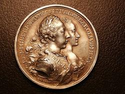 Emlék érem ezüst 1765 II. József,és bajorországi Maria Josefa Antonia 25,33 g, 39 mm