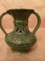 Antik Egyedi zöld majolika mázas áttört díszes két fülű váza