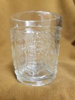 Nagyon ritka régi Kossuth címeres üveg pohár Éljen a haza felirattal