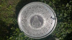 Nagyméretű v.réz tálca-falidísz-asztallap keleti motívumokkal díszítve átm.58 cm