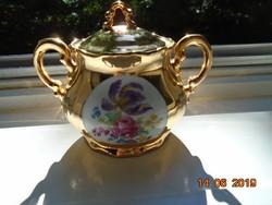 Nagyon ritka Aranybrokát és színes virágmintás medalionos Zsolnay cukortartó
