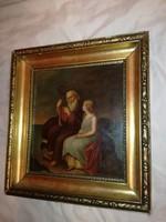 Antik Barokk festmény fémlemezre feste, 18 sz. Judeika.