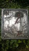 Antik  orosz ikon jelezve-ezüstözött lappal