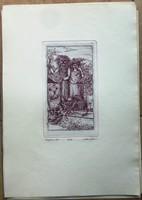 Molnár István,horoszkóp rézkarc,oroszlán sorszámozott 22/100 41,5 x 29,3, 21x12 cm