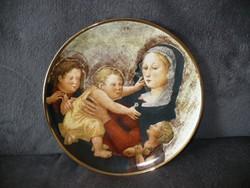 Hollóházi nagyon ritka dísztányér tányér Mária gyermekkel Musée d Art sorozat