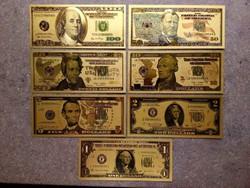 USA 7 db-os aranyszínű dísz plasztik dollár sor/id 9886/