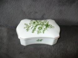 Hollóházi porcelán kínáló bonbonier, ékszertartó virágmintás aranyozott
