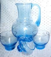 Régi kék csiszolt mintás üveg kancsó