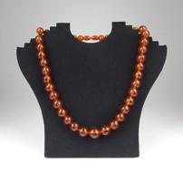 0X271 Régi borostyán szerű bizsu női nyaklánc 56cm