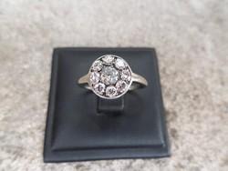 Brilles karmazált fehér arany antik gyűrű
