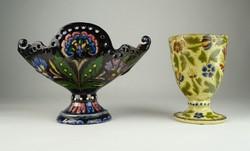 0U035 Antik Bozsik kerámia kaspó és váza párban
