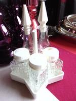 Retro orosz asztali fűszertartó szett csillag alakú tartóban